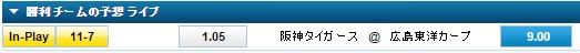 広島カープ対阪神タイガースのライブベット:ウィリアムヒル