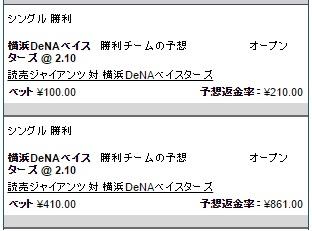 横浜DeNAベイスターズの勝利に賭ける:ウィリアムヒル