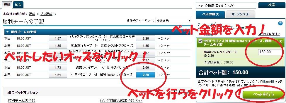 ブックメーカーウィリアムヒル:日本プロ野球への賭け方