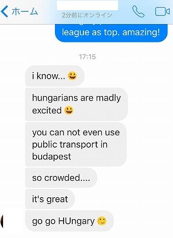 ハンガリー人の友達がいう決勝トーナメント進出によるブダペストの様子ユーロ2016