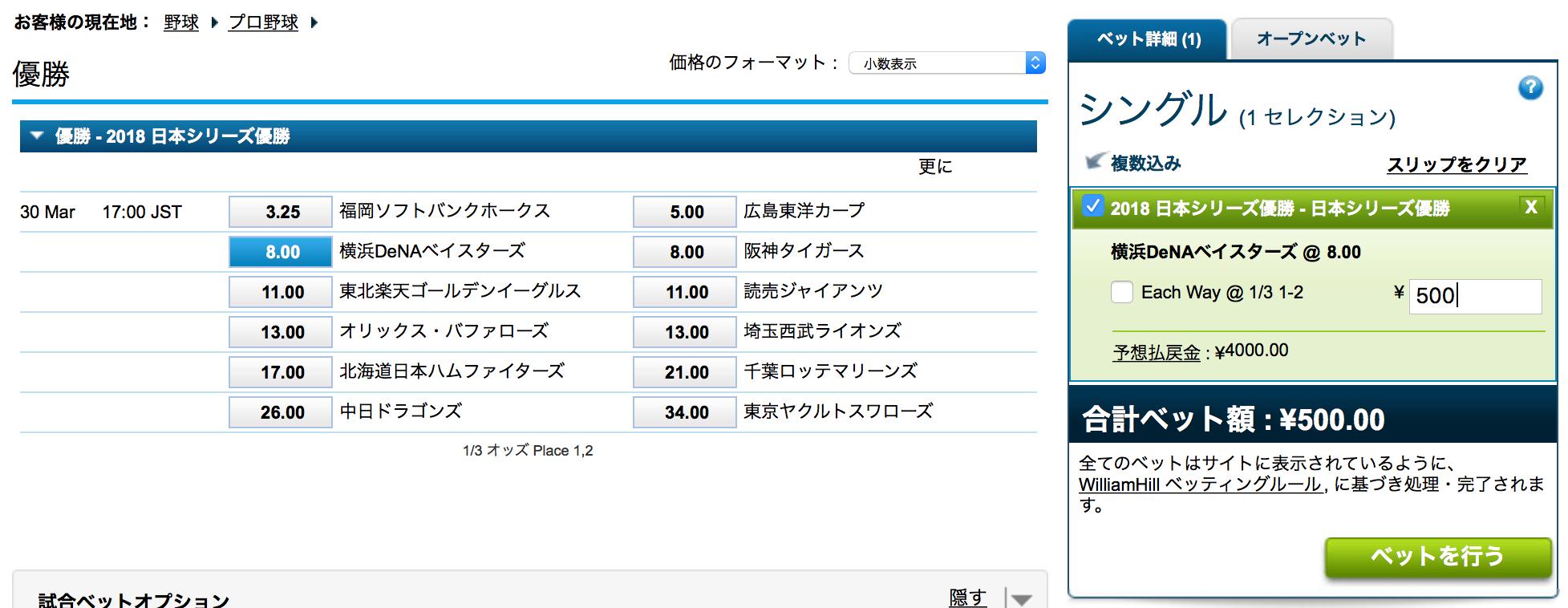 横浜DeNAベイスターズの優勝にベット2