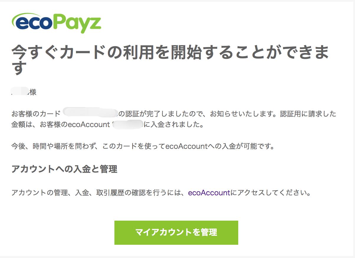 エコペイズ(ecoPayz)クレジットカード登録5