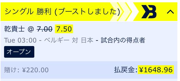 日本VSベルギー予想:乾貴士のゴール!
