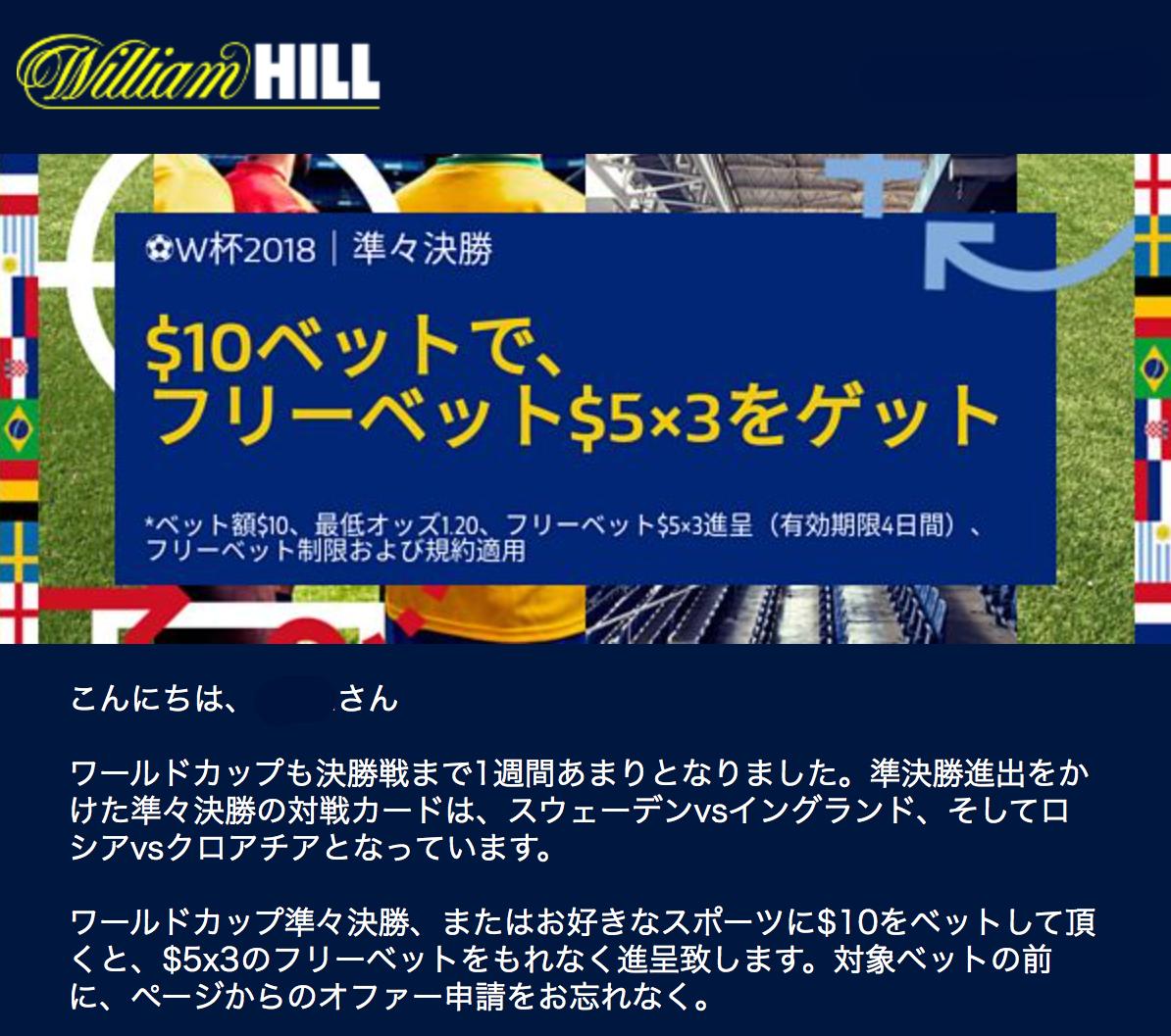 ウィリアムヒル:特別オファー!準々決勝