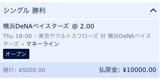 ウィリアムヒルプロ野球キャンペーン利用!横浜DeNAベイスターズの勝利