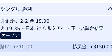 日本VSウルグアイ・2018キリンチャレンジカップ試合結果予想・ウィリアムヒル