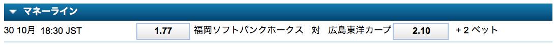 福岡ソフトバンクVS広島カープ日本シリーズ2018第3戦試合前予想オッズ