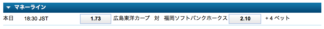 日本シリーズ第6戦勝敗予想オッズ・ウィリアムヒル