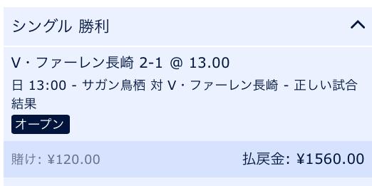 V・ファーレン長崎が2-1で勝利すると予想:ウィリアムヒル