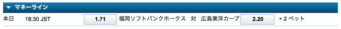 日本シリーズ第5戦勝敗予想オッズ・ウィリアムヒル
