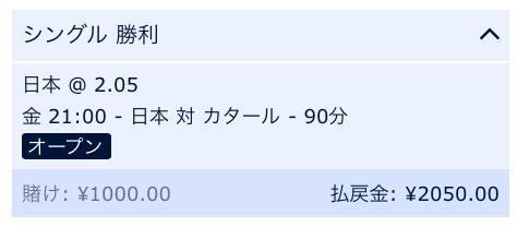 日本の勝利にベット・日本VSカタール・アジアカップ2019決勝