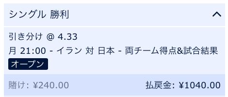 両チーム得点の末引き分け・日本VSイラン・アジアカップ準決勝