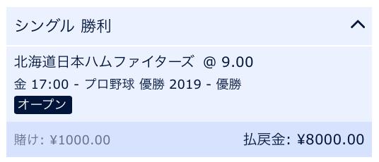 2019北海道日本ハムファイターズ優勝を予想・ウィリアムヒル・ブックメーカー
