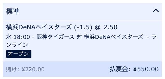 横浜DeNAベイスターズが2点差以上で勝利と予想