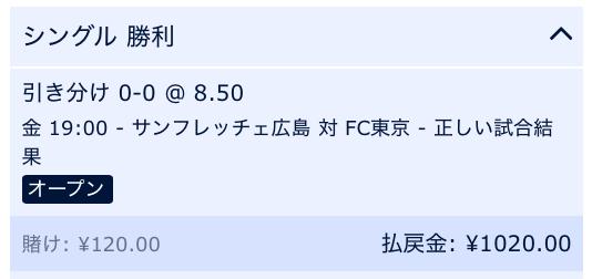 引き分けと予想・Jリーグ2019・広島VS東京
