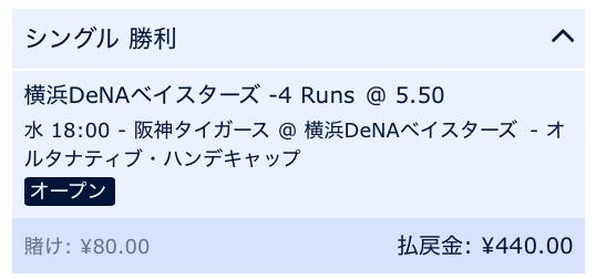 横浜DeNAベイスターズが5点差以上で勝利すると予想・ウィリアムヒル