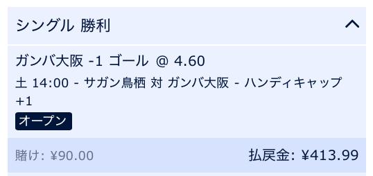 ガンバ大阪が2点差以上で勝利すると予想