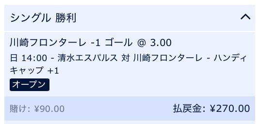 川崎フロンターレが2点差以上で勝利すると予想