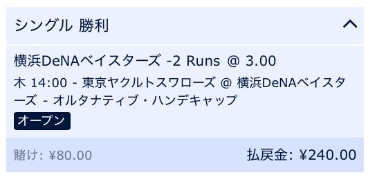 横浜DeNAベイスターズが3点差以上で勝利と予想・ウィリアムヒル