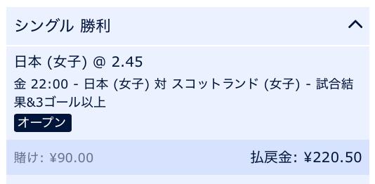 日本勝利&試合総得点3点以上と予想・サッカー女子W杯:日本VSスコットランド戦
