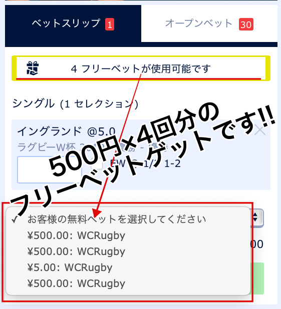 ブックメーカー・ウィリアムヒル!500円×4回分のフリーベットゲット!2019ラグビーW杯