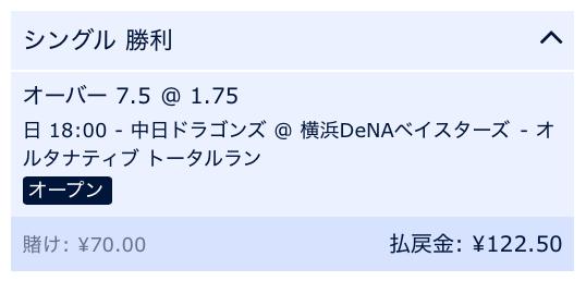 試合総得点8点以上と予想・横浜DeNA対中日