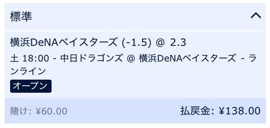 横浜DeNAベイスターズが2点差以上で勝利すると予想・横浜DeNA対中日ドラゴンズ