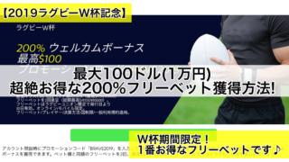 【2019ラグビーW杯記念】最大100ドル(1万円),超絶お得な200%フリーベット獲得方法!
