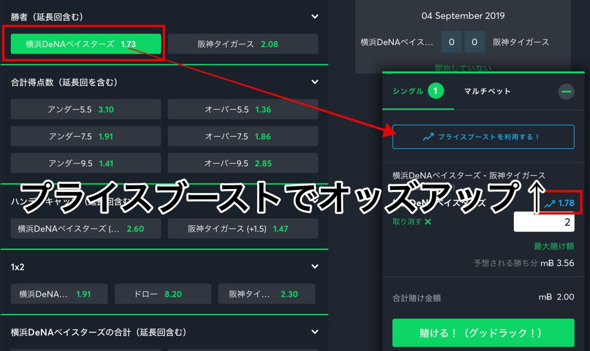プライスブースト・スポーツベットアイオーお得なサービス!