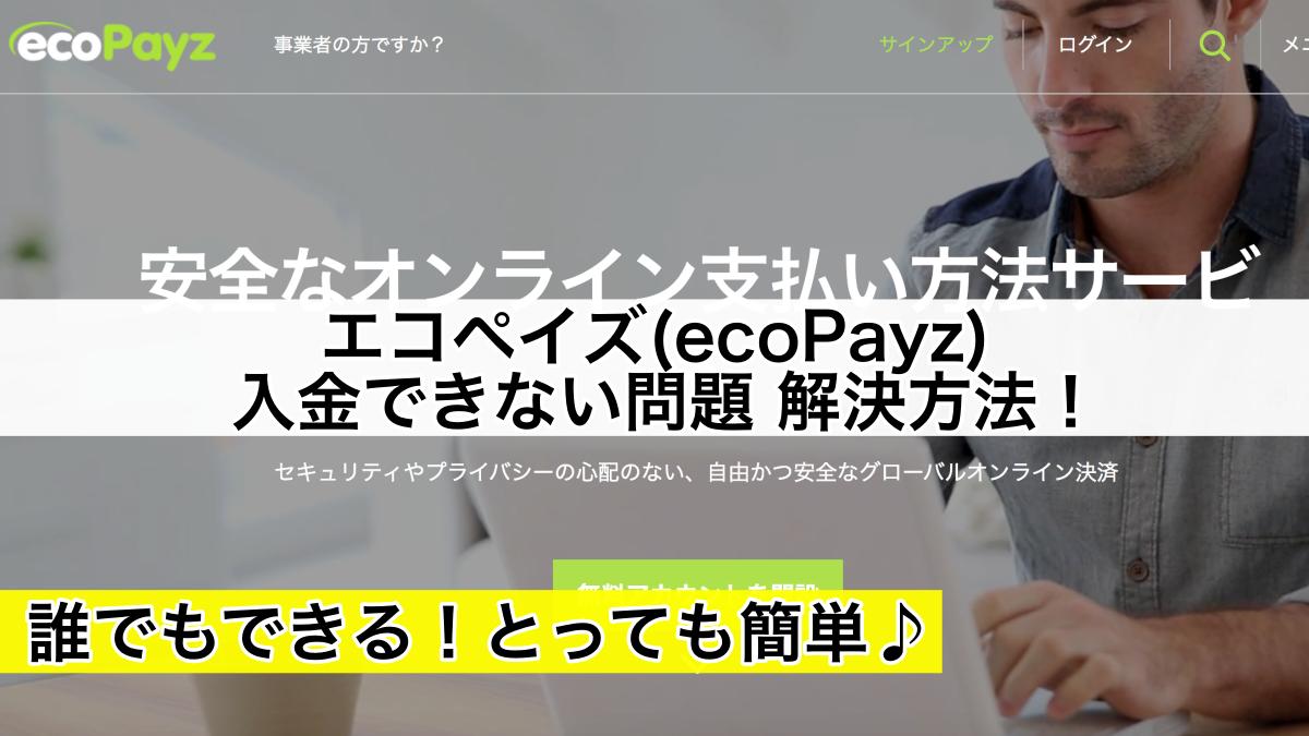 エコペイズ(ecoPayz)入金できない問題解決方法!