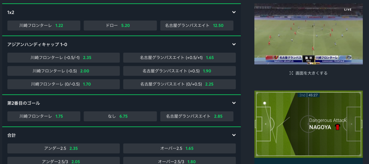 Jリーグ・ブックメーカー生中継・ライブストリーミング・sportsbetio