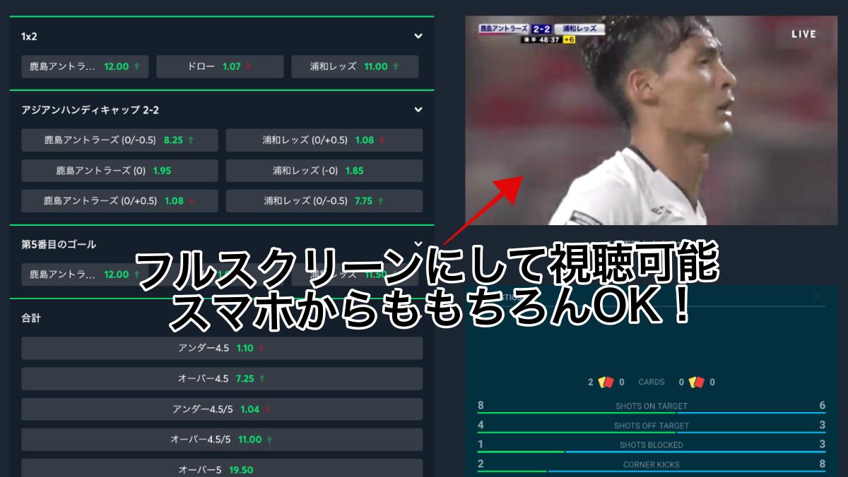 Jリーグライブ中継も無料視聴OK!sportsbet io・ブックメーカー