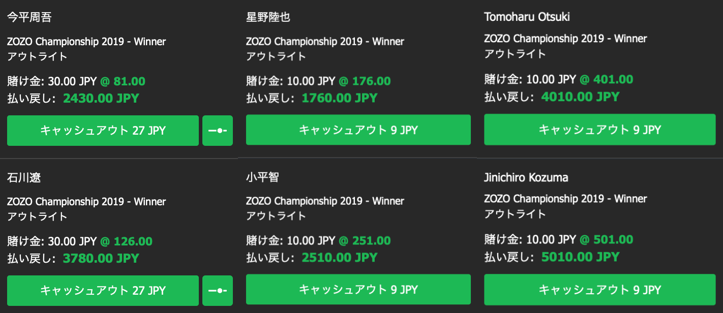 ZOZOチャンピオンシップ・男子ゴルフ米ツアー