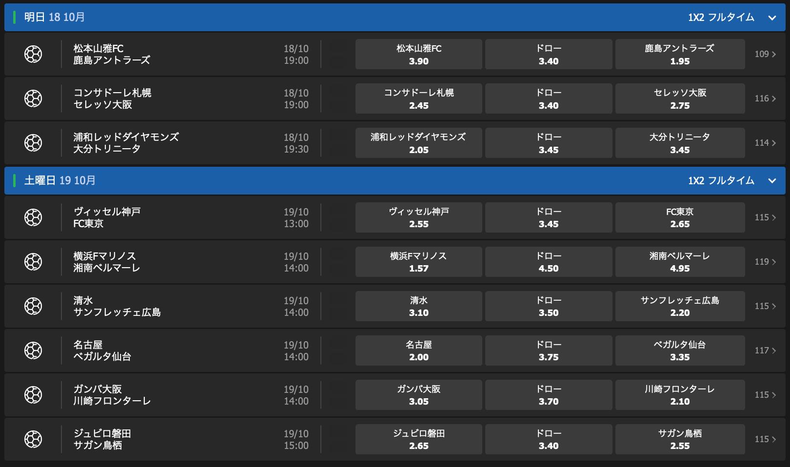2019Jリーグ第29節試合前オッズ・10bet Japan