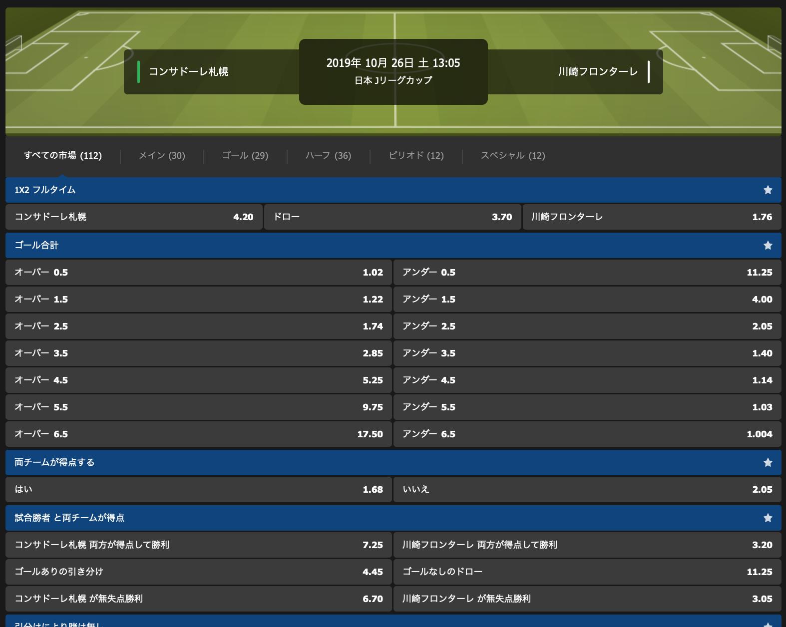 2019ルヴァン杯・Jリーグカップ決勝勝利予想オッズ・10bet Japan