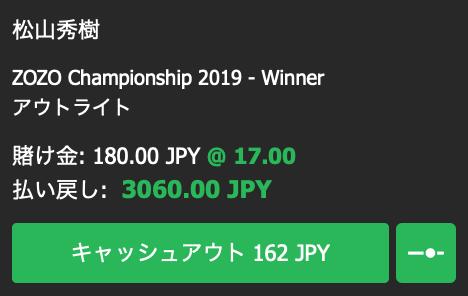 松山英樹が優勝すると予想・ZOZOチャンピオンシップ優勝オッズ2019