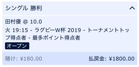 ラグビーW杯2019田村優が得点王と予想