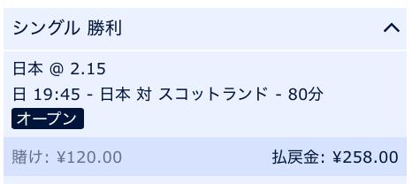 日本対スコットランド、日本の勝利を予想2