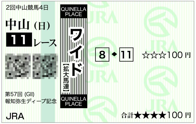 2020弥生賞(中山11R)・8-11ワイド