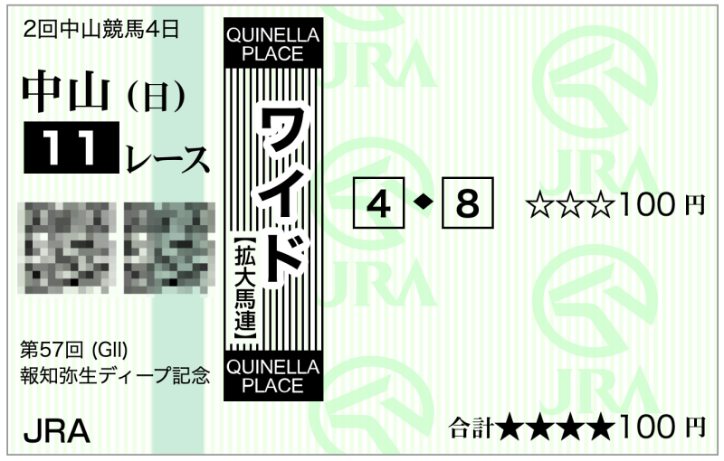 2020弥生賞(中山11R)・4-8ワイド