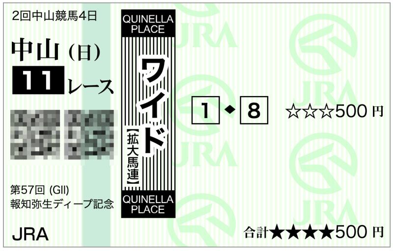 2020弥生賞(中山11R)・1−8ワイド