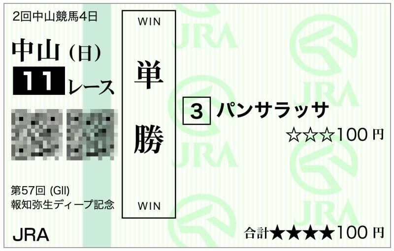 2020弥生賞(中山11R)・パンサラッサ単勝