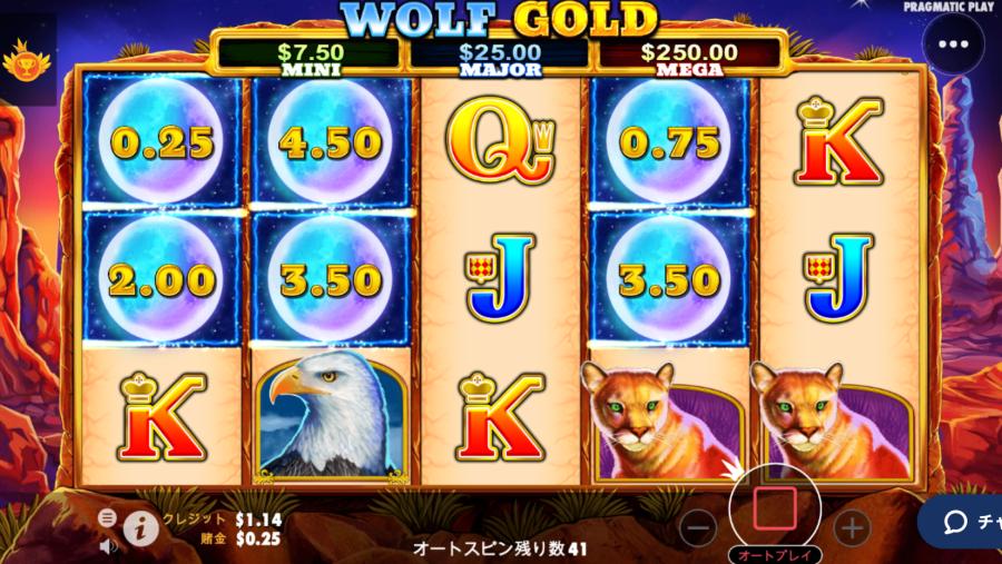 カジ旅スロット挑戦日記・ウルフゴールドwolfgold 入金不要ボーナス20