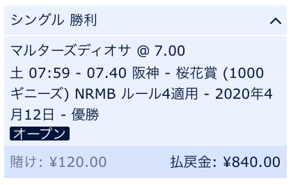 桜花賞・マルターズディオサ・単勝