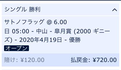 皐月賞・サトノフラッグ単勝