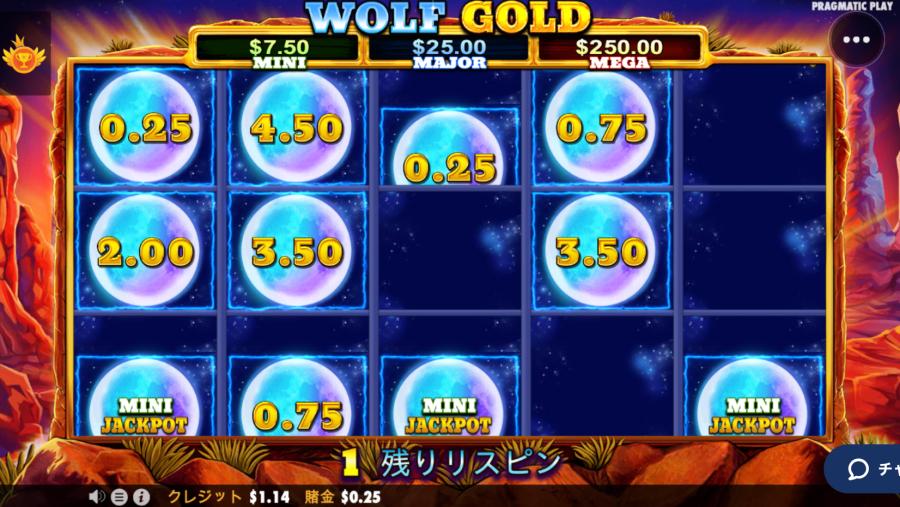 カジ旅スロット挑戦日記・ウルフゴールドwolfgold 入金不要ボーナス23