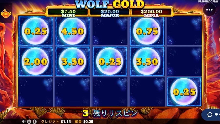 カジ旅スロット挑戦日記・ウルフゴールドwolfgold 入金不要ボーナス25