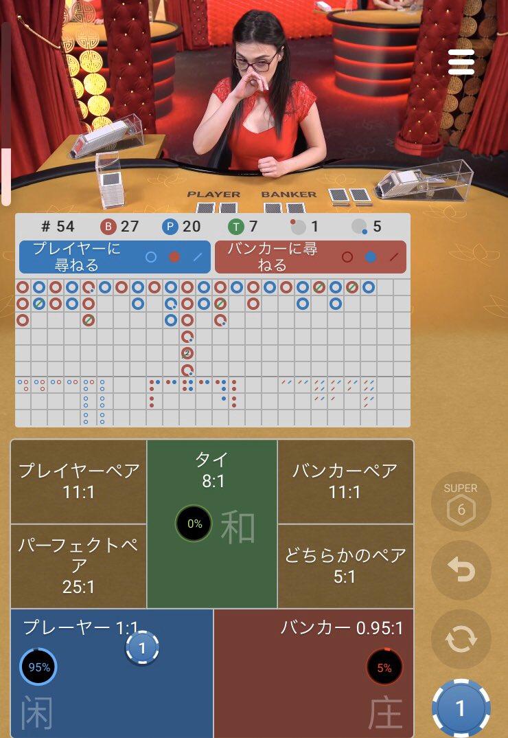 運要素が強いカジノゲームバカラでディーラーと楽しく遊ぶ7