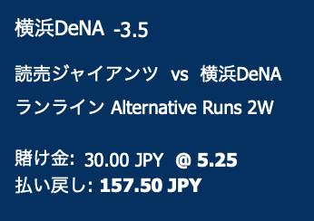 横浜DeNAベイスターズが4点差以上で勝利すると予想