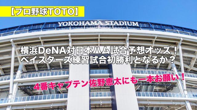 【プロ野球TOTO】横浜DeNA対日本ハム試合予想オッズ!ベイスターズ練習試合初勝利となるか